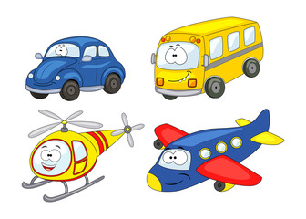 Cartoon transport set. Car, helicopter, airplane, bus. Vector il