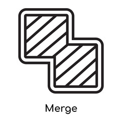 Merge icon vector sign and symbol isolated on white background, Merge logo concept