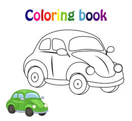 Coloring book page for  children with colorful car  and sketch t