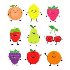 Set of cute cartoon fruit. Lemon, orange, apple pear,raspberry,
