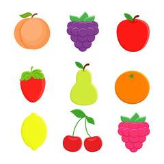 Set of 9  cartoon fruit. Lemon, orange, apple,  pear, strawberry