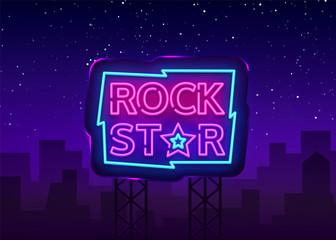 Rock Star Neon Sign Vector Illustration. Design template neon signboard on Rock Music, Light banner, Bright Night Advertising. Vector. Billboard