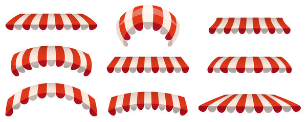 A set of striped red white awnings, canopies for the store. Awning for the cafes and street restaurants. Vector illustration isolated on white background. Isolated