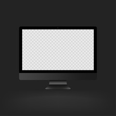 Stock vector illustration realistic personal professional desktop computer, PC. Transparent checkered display. White screen mock-up EPS10