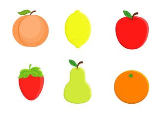 Set of  cartoon fruit. Lemon, orange, apple pear, strawberry, pe