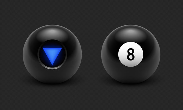 Vector illustration Magic 8 ball set. Eight. Isolated on a transparent black checkered background EPS10
