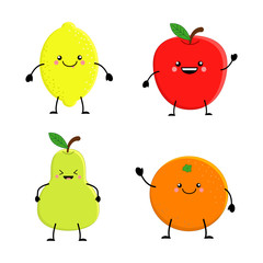 SEt of cute cartoon fruit. Lemon orange apple pear. Vector illu