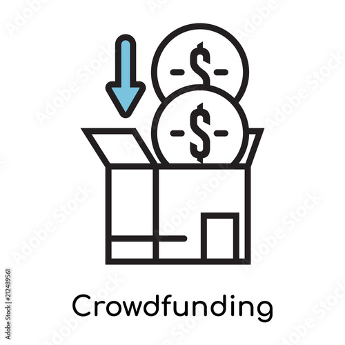 crowdfunding icon vector sign and symbol isolated on white