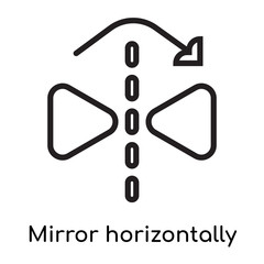 Mirror horizontally icon vector sign and symbol isolated on white background, Mirror horizontally logo concept