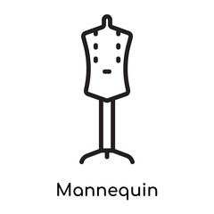 Mannequin icon vector sign and symbol isolated on white background, Mannequin logo concept
