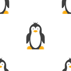 Cartoon penguin, seamless pattern. Vector drawing on white background.