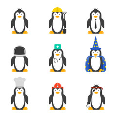 Set of cartoon penguins with various professions. Vector drawing on white background..