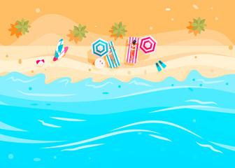 Wall Murals Turquoise People swim and sunbathe.