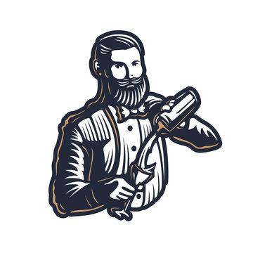 Bearded barmen, barkeeper or bartender in work silhouette with shaker logo design on white background - Hand drawn man with beard and mustache vector illustration. Gold and white vintage emblem design