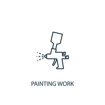 painting work concept line icon. Simple element illustration