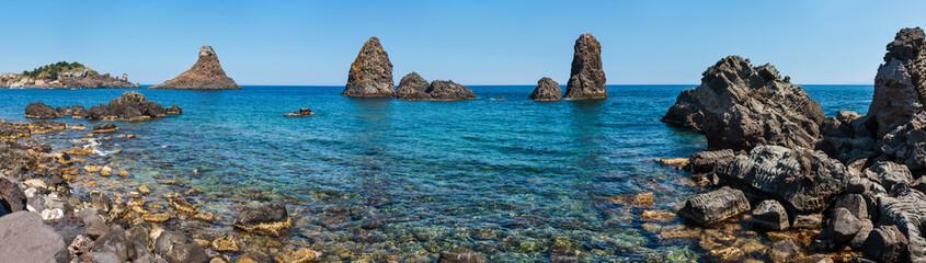 Poster Cote Aci Trezza Faraglioni, Sicily coast