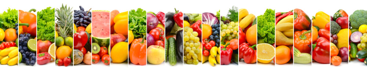 Panoramic photo vegetables and fruits in frame of vertical stripes isolated on white