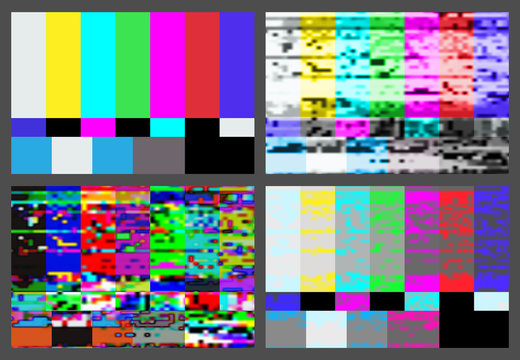 No signal TV test pattern background set.