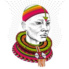 African man in tribal clothes. Beautiful black man. Vector illustration