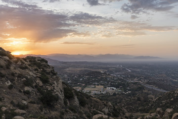 Sunrise view of Porter Ranch in the San Fernando Valley area of Los Angeles, California.  Shot from Rocky Peak Mountain Park.