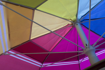 Colorful Umbrella Green Purple Blue And Yellow