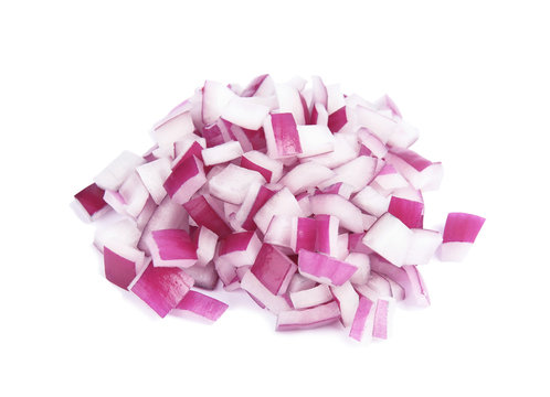 Fresh chopped red onion on white background