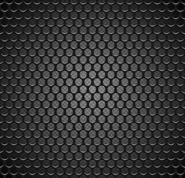 Vector metal grid seamless pattern on transparent background. Black iron speaker grill endless texture. Web page fill.