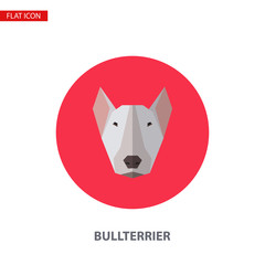 Bullterrier head vector flat icon on turquoise circular background.