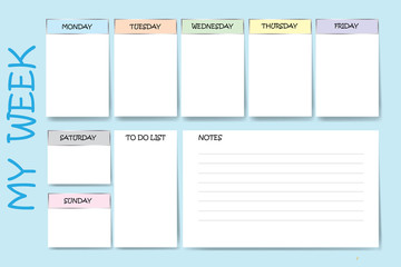 Blue color weekly planner with a chart for notes and white charts for each day of the week designed by different color are ready for your text.
