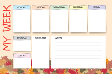 My week planner in colorful autumn leaves design