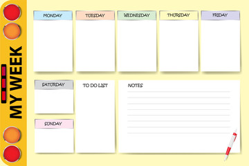 My week planner vector with a part of school bus