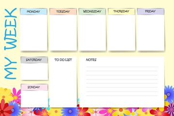 My week planner vector in colorful flowers design