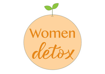 WOMEN DETOX-hand drawn lettering element your design. Perfect for advertising, poster, postcard, card, invitation, banner, lettering typography.Vector illustration EPS 10