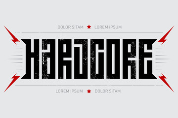 Hardcore - music poster. Hard core - t-shirt design with red lightnings. T-shirt apparels cool print.