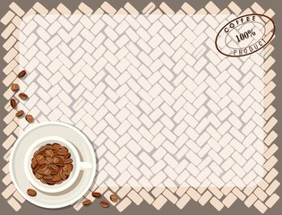 Background pattern with cup of coffee. Vector illustration