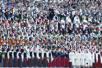 Choir performs during the final show at the Song and Dance Celebration in Riga