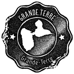 Grande-Terre map vintage stamp. Retro style handmade label, badge or element for travel souvenirs. Black rubber stamp with island map silhouette. Vector illustration.
