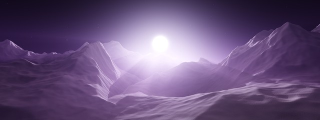 Sunrise in the mountains. Mountain sunset. The mountains are in a fog. 3D rendering