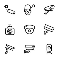 Set of black vector icons, isolated on white background, on theme CCTV Camera