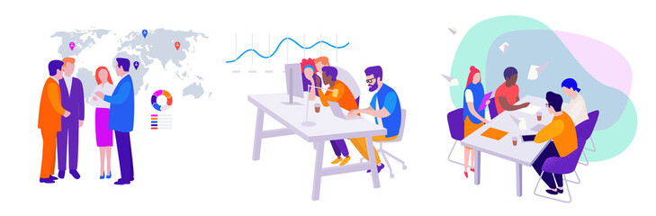 set of vector business illustrations: teamwork, meeting of managers and directors on the background of the map, workflow in the office at the computer Wall mural