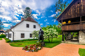 Scenic view at picturesque monument in Zagorje region - Kumrovec, Northern Croatia travel places.