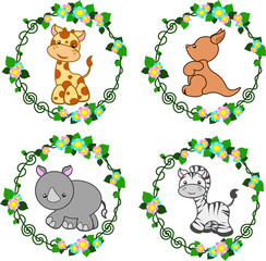 four bright stylized animals in a round floral frame, vector