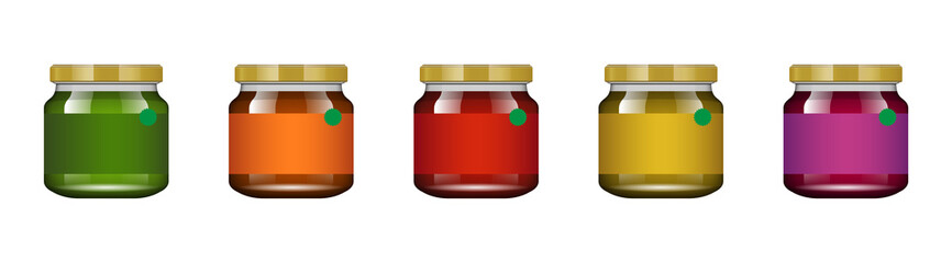 Glass jar with jam and configure. Vector illustration. Packaging collection. Label for jam. Bank realistic. Mock up glass jar without design label and logo.