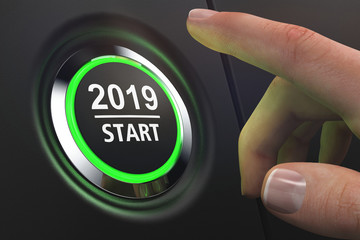 Button 2019 Start - LED grün - Hand