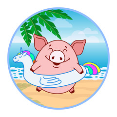 Sticker Pig with an inflatable circle in the form of a unicorn on the beach. Symbol of the new year in the Chinese calendar. Cartoon. Vector.