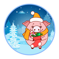 Sticker Pig with a sock and gifts on the background of the winter landscape. Evening. Symbol of the new year in the Chinese calendar. Cartoon. Vector.