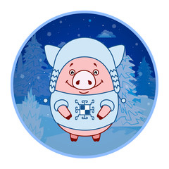 Sticker Pig in a hat and sweater in the Scandinavian style on the background of the winter landscape. Evening. Symbol of the new year in the Chinese calendar. Cartoon. Vector.