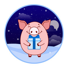 Pig sticker with gift box and blue bow on winter landscape background. Evening. Symbol of the new year in the Chinese calendar. Cartoon. Vector.