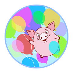 Sticker Pig flying on a balloon on the background of colorful balloons. Symbol of the new year in the Chinese calendar. Cartoon. Vector.