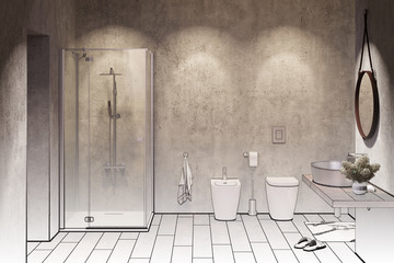 3d illustration. Sketch of a Modern shower room with spotlights in the